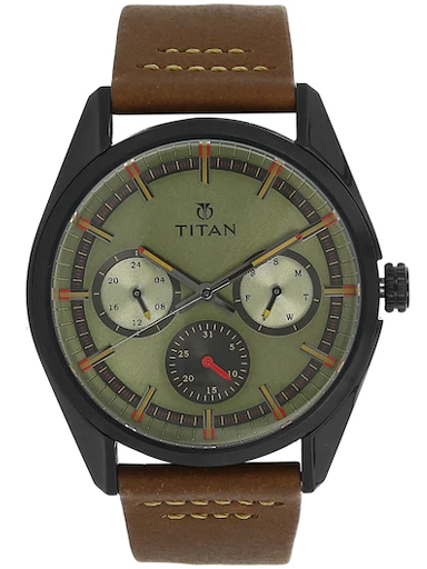 titan multi-function green dial brown leather strap men's watch 90084nl01-90084NL01