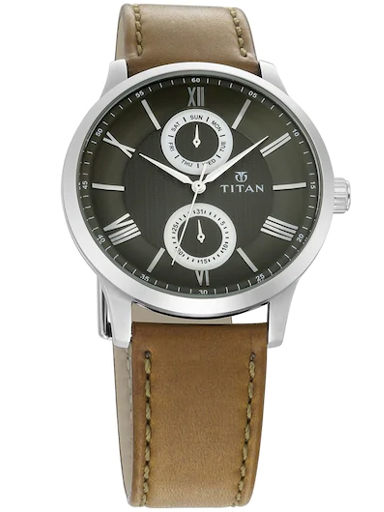 titan on trend olive green dial leather strap men's watch 90100sl03-90100SL03