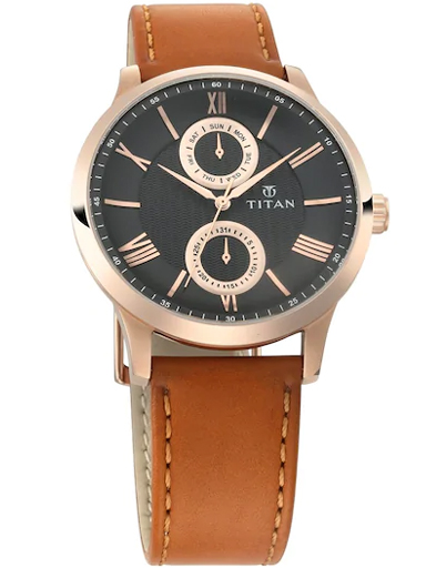 titan on trend black dial brown leather strap men's watch 90100wl02-90100WL02