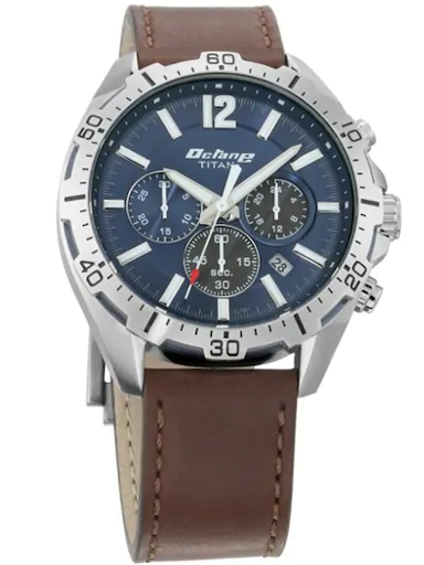 titan octane blue dial brown leather strap men's watch 90108kl02-90108KL02