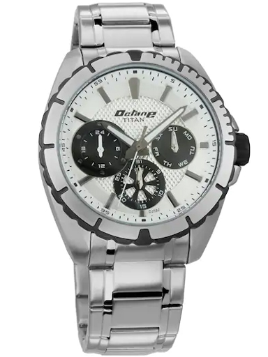titan octane white dial stainless steel strap men's watch 90109km01-90109KM01