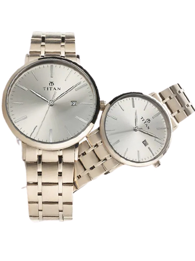 titan bandhan silver dial stainless steel strap watches 9400294202wm01-9400294202WM01