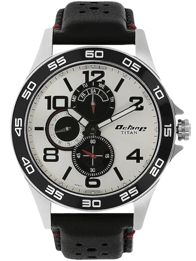 titan octane silver dial black leather strap men's watch nk1702kl01-NK1702KL01