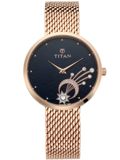 titan stellar by titan black dial watch for women nk95083wm02-NK95083WM02
