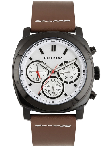 Giordano White Dial Brown Leather Strap Men's Watch 1751-01-1751-01