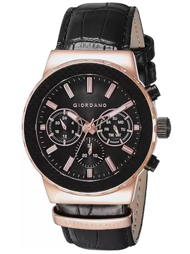 Giordano Black Dial Black Leather Strap Men's Watch 1779-03-1779-03
