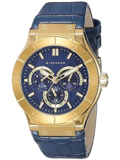 Giordano Blue Dial Blue Leather Strap Men's Watch 1776-02-1776-02