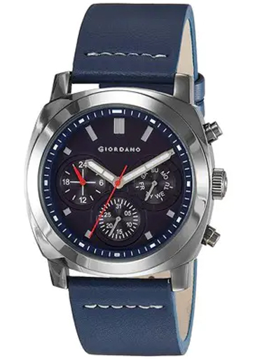 Giordano Multi-Function Blue Dial Leather Strap Men's Watch 1751-03- 1751-03