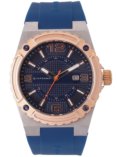 Giordano Blue Dial Blue Silicon Strap Men's Watch 1868-02-1868-02