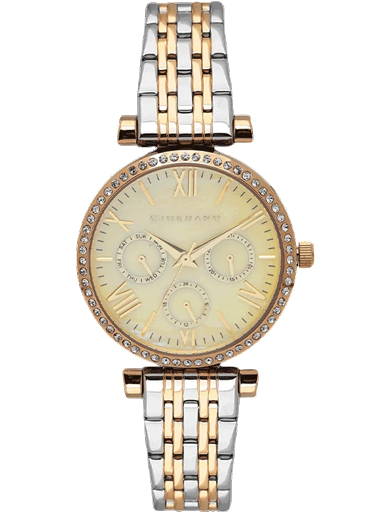 Giordano Champagne Dial Two Tone Metal Strap Women's Watch 2845-55-2845-55