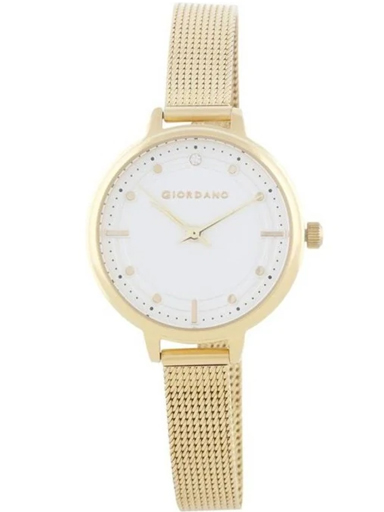 Giordano White Dial Gold Mesh Strap Women's Watch 2872-22-2872-22