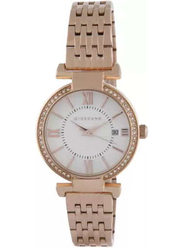 giordano white dial rose gold strap women's watch 2876-33-2876-33