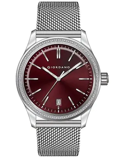 Giordano Red Dial Mesh Strap Women's Watch 2847-22-2847-22