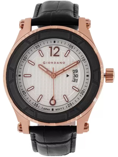 Giordano White Dial Black Leather Strap Men's Watch GD-1012-03-GD-1012-03
