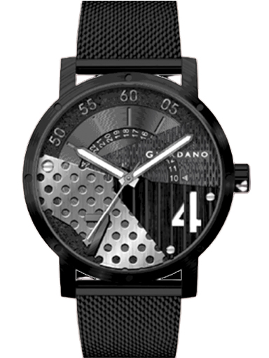 Giordano Black Dial Mesh Black Strap Men's Watch GD-1063-11-GD-1063-11