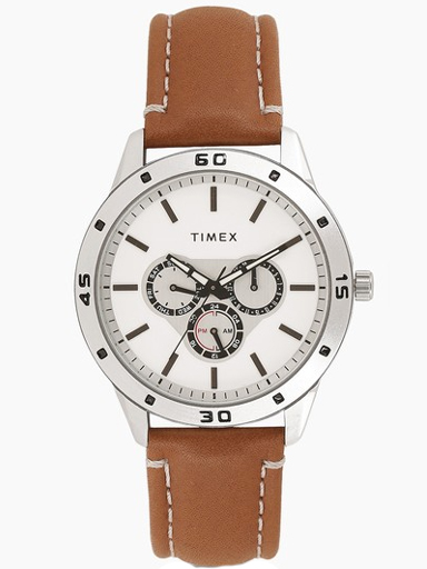 Timex Multi-Function White Dial Tan Leather Strap Men's Watch TW000U911-TW000U911