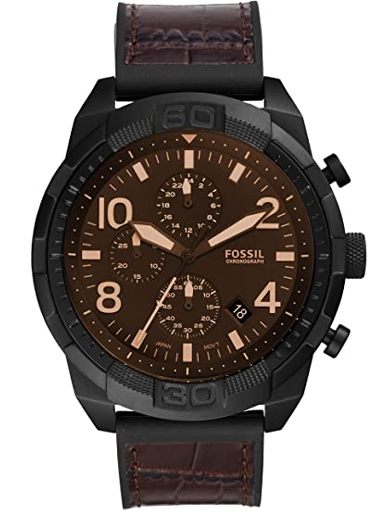 fossil bronson chronograph brown croco leather watch-FS5713