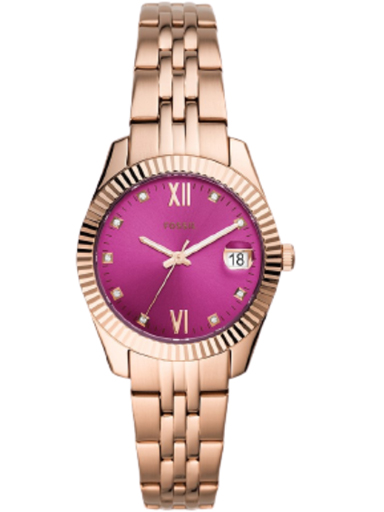 fossil scarlette mini three-hand date rose gold-tone stainless steel watch-ES4900