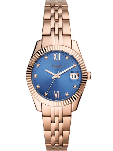 fossil scarlette mini three-hand date rose gold-tone stainless steel watch-ES4901I
