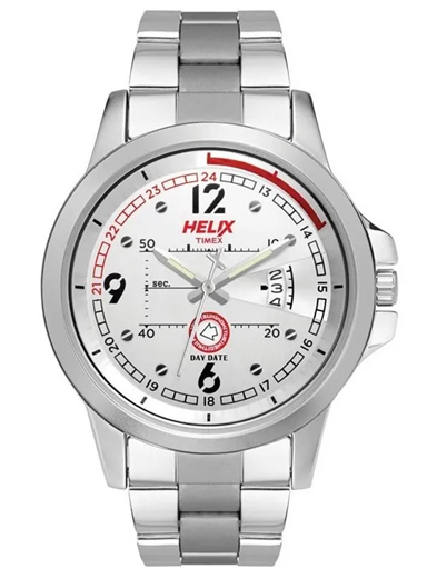 timex helix silver dial men watch tw023hg16-TW023HG16