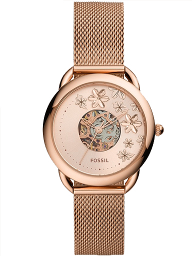 fossil tailor automatic rose gold-tone stainless steel mesh watch-ME3187