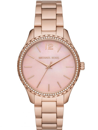 michael kors layton three-hand rose gold-tone stainless steel watch-MK6848I