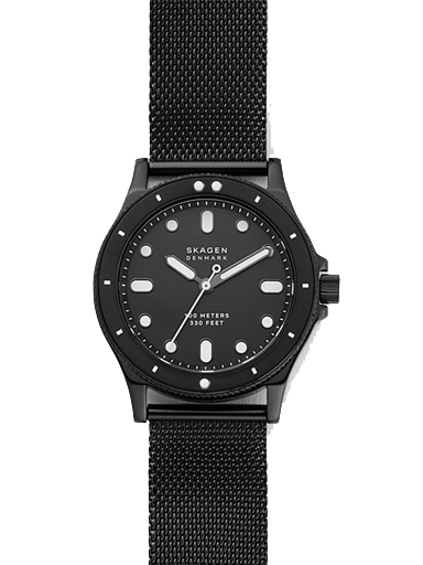 skagen fisk three-hand black steel-mesh watch-SKW2917I