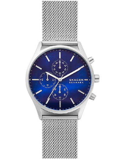 Skagen Holst Chronograph Silver-Tone Steel-Mesh Watch-SKW6652I