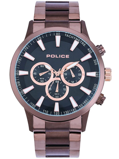 Police Black Dial Metal Strap Watch-PL15000JBBN02M