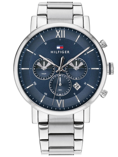 tommy hilfiger men navy blue stainless steel multi-function watch-TH1710409