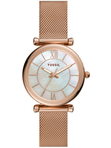 es4918 fossil carlie analog mother of pearl dial women's watch-ES4918