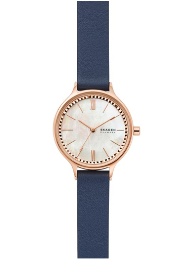 skw2864i skagen analog mother of pearl dial women's watch anita three-hand blue leather watch-SKW2864I