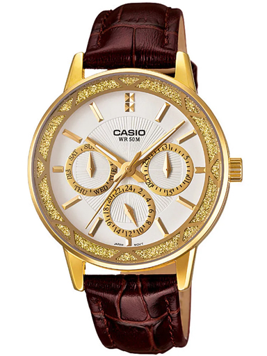 casio enticer analog white dial women's watch-A911