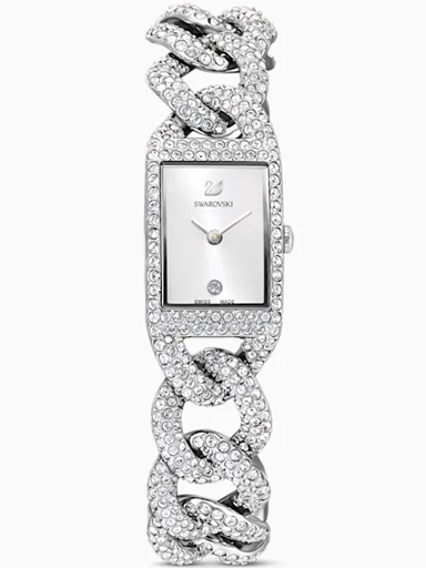 Swarovski Cocktail Watch, Full Pave, Metal bracelet, Silver tone-5547617