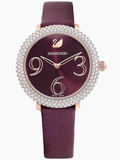 Swarovski Crystal Frost Watch, Leather strap, Dark red, Rose-gold tone PVD-5484064