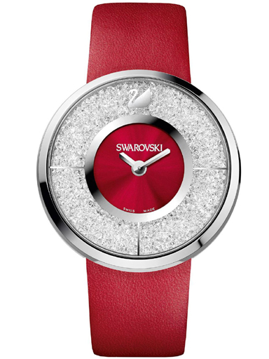 Swarovski Women's Crystalline Red Leather Swiss Quartz Watch-1144170