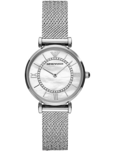 Emporio Armani Gianni T-Bar Case material is Stainless Steel and the White Mother of Pearl Dial-AR11319I