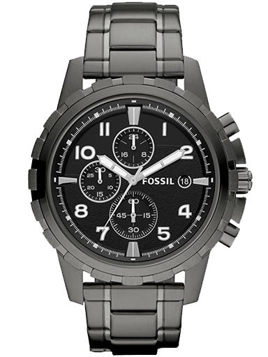 FOSSIL Mens Carlie Black Dial Stainless Steel Chronograph Watch FS4721IE-FS4721IE