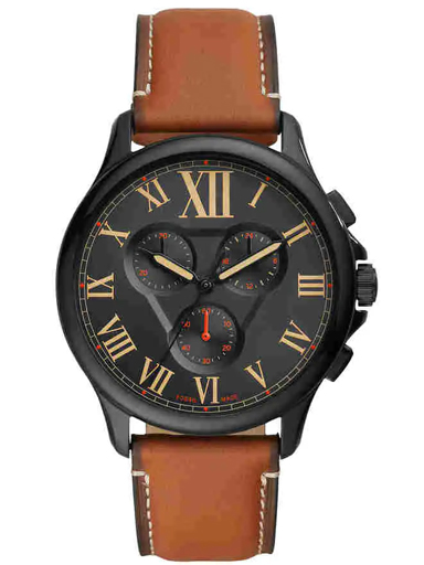 fossil monty chronograph brown leather mens watch-FS5639I