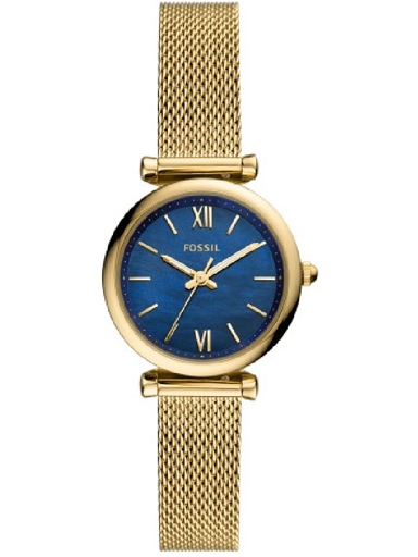 fossil carlie mini gold-tone stainless steel mesh womens watch es5020i-ES5020I