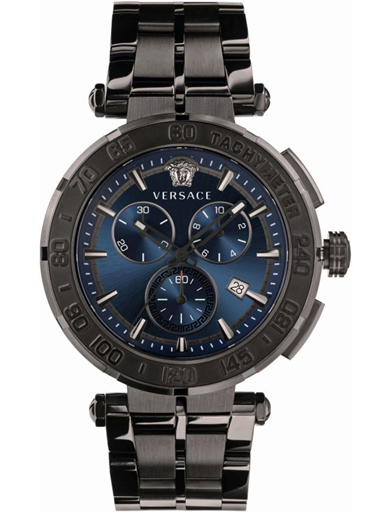 Versace Greca Chrono Blue Dial Stainless Steel Men Watch-VEPM00620