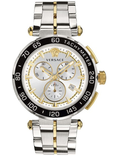Versace Greca Chrono Silver Dial Stainless Steel Men Watch-VEPM00520