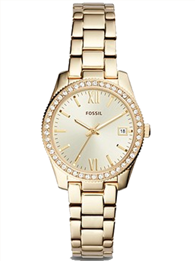 fossil scarlette three-hand date gold-tone stainless steel watch-ES4374I