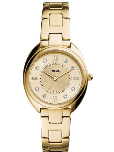 fossil gabby three-hand date gold-tone stainless steel watch-ES5071I