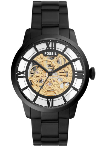 Fossil 44mm Townsman Automatic Black Stainless Steel Watch-ME3197I