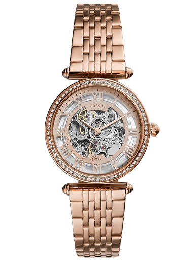 fossil lyric automatic rose gold-tone stainless steel watch-ME3198