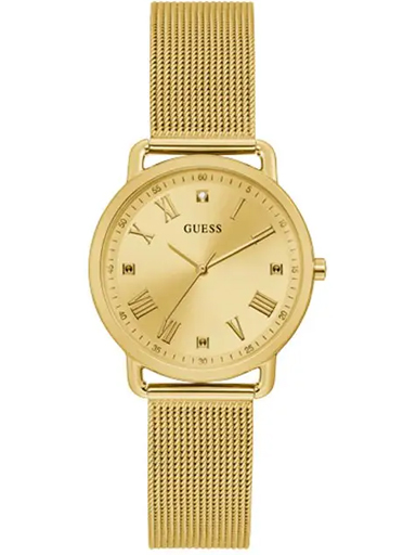 womens avery champagne dial stainless steel & mesh analogue watch-GW0031L2