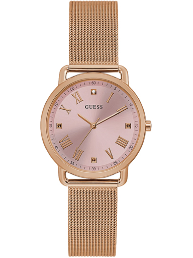 womens avery pink dial stainless steel & mesh analogue watch-GW0031L3