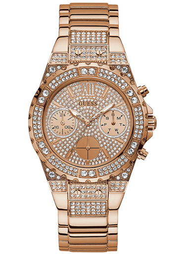 guess women's analog watch with stainless steel strap, rose gold-GW0037L3