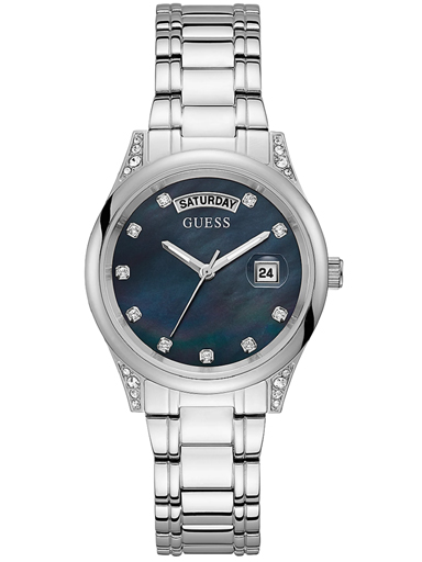 womens aura black dial stainless steel analogue watch-GW0047L1